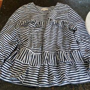 LOFT Ruffle striped linen jacket